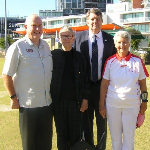 Opening Ceremony L-R Bruce McAlister, QLD Director of Gateball, Judy Fowler, Greg Fowler and Barbara Northcott, President of Southport