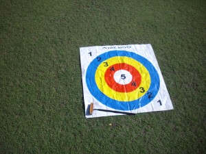 Plastic sheet with target