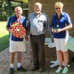 Steve and Cheryl Kele  won the State Doubles Championship and holding the Bruce McAlister Shield which was presented by the President, Don Close.