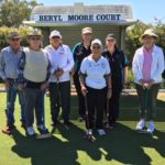 At the Gracemere Croquet Courts the newly qualified coaches are featured. L-R. Peter Kajewski and his wife (Gracemere), Jim Northcott, Keith Chur-Hansen, Barbara Northcott, Ros Crowe and Mary Dunn. (Lynne Farry was absent from the photo)