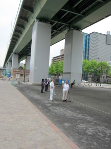 Playing under the bridge at Nagoya