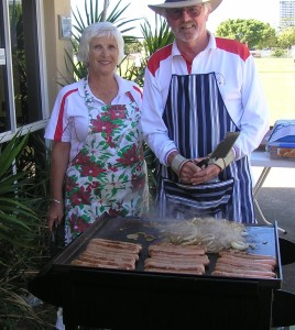 Lunch was cooked on the BBQ by Kerry Lamerton and Lee Godfrey