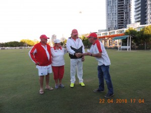 Southport Bombers accepting the second prize with John Turner.