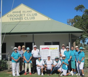 Participants and coaches gather in front of the Bribie Island Clubhouse.