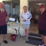 Bruce McAlister and Peter Sweet receive their Prize from Sue Dixon, the President of Caloundra MSC.