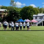 Wonderful  surface to the courts and the picturesque club  house behind.
